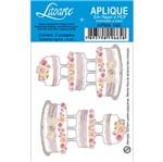 Aplique Decoupage em Papel e MDF Bolo com Flores e Três Andares APM4-145 - Litoarte