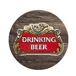Aplique Decoupage em Papel e MDF Porta Copo Drinking Beer APM10-001 - Litoarte