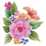 Aplique Decoupage Litoarte 8cm APM8-1100 Flores Coloridas