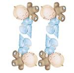 Aplique Decoupage Litoarte APM3-212 em Papel e MDF 3cm Bebê Menino e Ursinho
