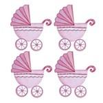 Aplique Decoupage Litoarte APM3-132 em Papel e MDF 3cm Carrinho Bebê Menina