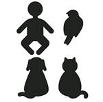 Aplique Decoupage Litoarte APM3-216 em Papel e MDF 3cm Silhuetas Bebê, Pássaro, Cachorro e Gato