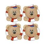 Aplique Decoupage Litoarte APM3-191 em Papel e MDF 3cm Urso Marinheiro