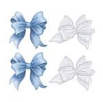 Aplique Decoupage Litoarte APM3-244 em Papel e MDF 3cm Laços Brancos e Azuis