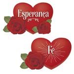 Aplique Decoupage Litoarte APM4-331 em Papel e MDF 4cm Coração com Rosa Esperança