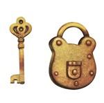 Aplique Decoupage Litoarte APM4-156 em Papel e MDF 4cm Cadeado e Chave Dourada
