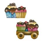 Aplique Decoupage Litoarte APM4-319 em Papel e MDF 4cm Carrinho com Cupcake