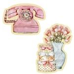 Aplique Decoupage Litoarte APM4-410 em Papel e MDF 4cm Telefone e Flores