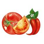 Aplique Decoupage Litoarte APM4-244 em Papel e MDF 4cm Tomate e Pimenta
