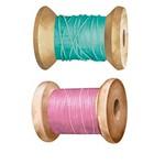 Aplique Decoupage Litoarte APM4-372 em Papel e MDF 4cm Carretel Verde e Rosa
