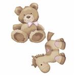 Aplique Decoupage Litoarte APM4-278 em Papel e MDF 4cm Urso e Cavalinho