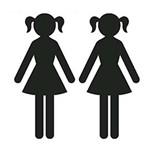 Aplique Decoupage Litoarte APM4-287 em Papel e MDF 4cm Silhueta Meninas