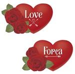 Aplique Decoupage Litoarte APM4-333 em Papel e MDF 4cm Coração com Rosa Força