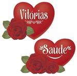 Aplique Decoupage Litoarte APM4-332 em Papel e MDF 4cm Coração com Rosa Saúde