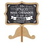 Aplique Decoupage Litoarte APM8-1005 em Papel e MDF 8cm Tag de Mesa há Amigos