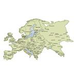 Aplique Decoupage Litoarte APM8-1060 em Papel e MDF 8cm Mapa da Europa