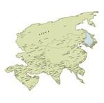 Aplique Decoupage Litoarte APM8-1061 em Papel e MDF 8cm Mapa da Ásia