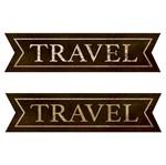 Aplique Decoupage Litoarte APM8-1096 em Papel e MDF 8cm Tags Travel