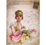 Aplique Decoupage Litoarte APM8-1130 em Papel e MDF 8cm Dama e Rosas Vintage