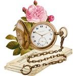 Aplique Decoupage Litoarte APM8-1115 em Papel e MDF 8cm Relógio e Rosas