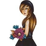 Aplique Decoupage Litoarte APM8-1140 em Papel e MDF 8cm Mulher com Flores