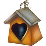 Aplique Decoupage Litoarte APM8-1187 em Papel e MDF 8cm Casinha de Passarinho Coração