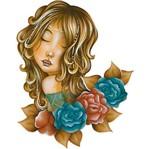 Aplique Decoupage Litoarte APM8-1139 em Papel e MDF 8cm Mulher Flores Coloridas