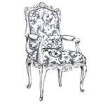 Aplique Decoupage Litoarte APM8-422 em Papel e MDF 8cm Cadeira Preto e Branco