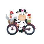 Aplique Decoupage Litoarte APM8-479 em Papel e MDF 8cm Vaca de Bicicleta
