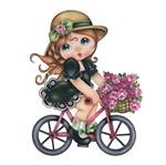 Aplique Decoupage Litoarte APM8-549 em Papel e MDF 8cm Menina Bicicleta