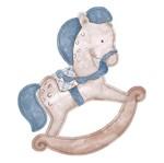 Aplique Decoupage Litoarte APM8-563 em Papel e MDF 8cm Cavalinho Masculino Infantil