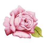 Aplique Decoupage Litoarte APM8-526 em Papel e MDF 8cm Flor Rosa