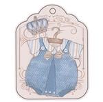 Aplique Decoupage Litoarte APM8-561 em Papel e MDF 8cm Tag Roupinha Vintage Masculino