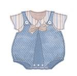 Aplique Decoupage Litoarte APM8-564 em Papel e MDF 8cm Roupinha Vintage Masculino Infantil