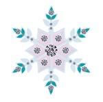 Aplique Decoupage Litoarte APM8-528 em Papel e MDF 8cm Flocos de Neve Colorido