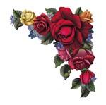Aplique Decoupage Litoarte APM8-610 em Papel e MDF 8cm Cantoneira Rosas
