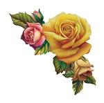 Aplique Decoupage Litoarte APM8-611 em Papel e MDF 8cm Rosas Amarelas e Rosa