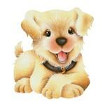 Aplique Decoupage Litoarte APM8-687 em Papel e MDF 8cm Cachorro Simpático