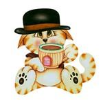 Aplique Decoupage Litoarte APM8-690 em Papel e MDF 8cm Gato Tomando Chá