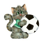 Aplique Decoupage Litoarte APM8-691 em Papel e MDF 8cm Gato com Bola de Futebol