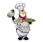 Aplique Decoupage Litoarte APM8-392 em Papel e MDF 8cm Pinguim Cozinheiro