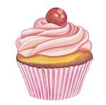Aplique Decoupage Litoarte APM8-390 em Papel e MDF 8cm Cupcake Cereja