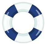Aplique Decoupage Litocart LMAM-066 em Papel e MDF 7cm Boia Salva-Vidas Azul
