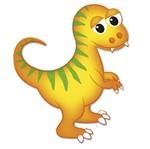 Aplique Decoupage Litocart LMAM-070 em Papel e MDF 7cm Dinossauro Amarelo