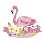 Aplique Decoupage Litocart LMAM-082 em Papel e MDF 7cm Flamingo e Flores