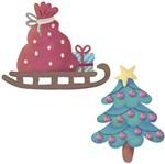 Aplique Decoupage Natal Litoarte APMN4-018 em Papel e MDF 4cm Árvore e Trenó