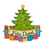 Aplique Decoupage Natal Litoarte APMN8-003 em Papel e MDF 8cm Pinheiro