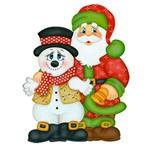 Aplique Decoupage Natal Litoarte APMN8-004 em Papel e MDF 8cm Noel e Boneco de Neve