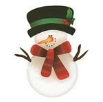Aplique Decoupage Natal Litoarte APMN8-005 em Papel e MDF 8cm Boneco de Neve