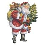 Aplique Decoupage Natal Litoarte APMN8-087 em Papel e MDF 8cm Papai Noel Vintage com Pinheiro